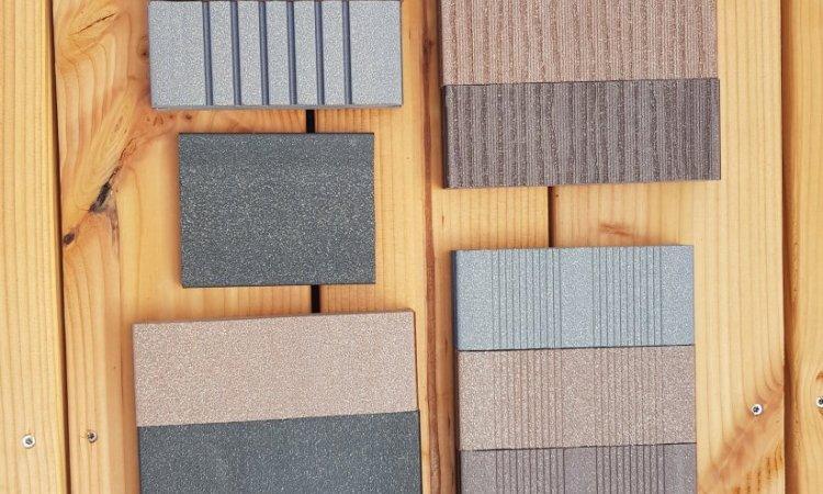 Echantillons bois composite.